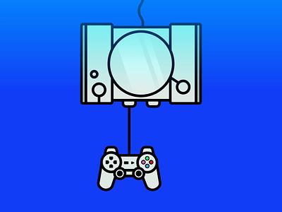 PlayStation flat stroke illustration stroke icons motion animation controller minimalism badge emblem illustration flat design logo icon gaming video games playstation