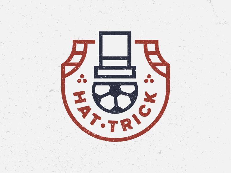 Hat–Trick emblem badge identity design flat illustration drawing icon logo sports soccer hat trick