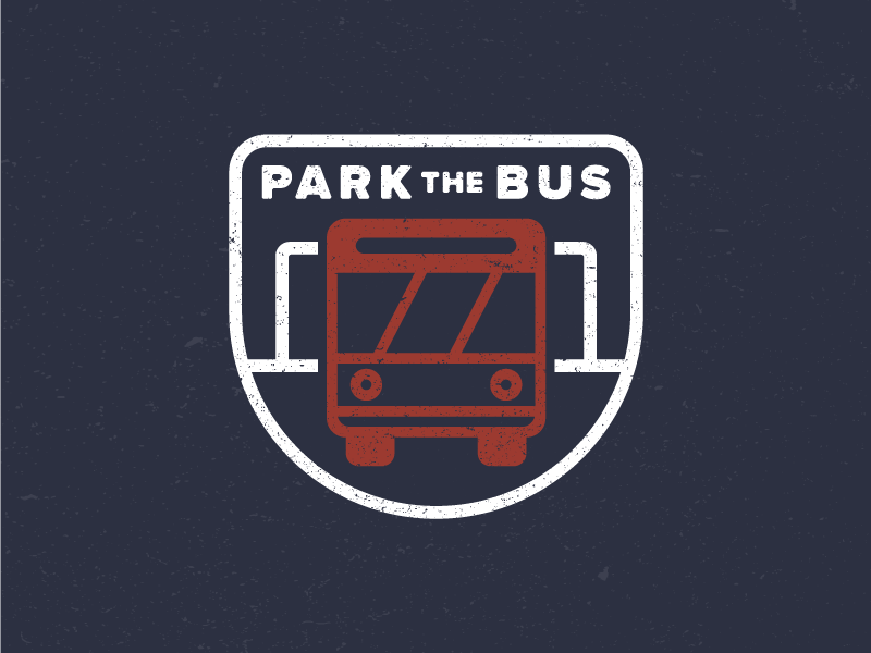 Park the Bus emblem badge identity design flat illustration drawing icon logo sports soccer park the bus