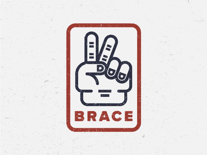 Brace emblem badge identity design flat illustration drawing icon logo sports soccer brace