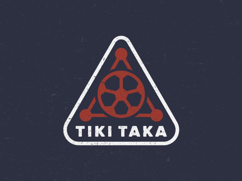 Tiki Taka emblem badge identity design flat illustration drawing icon logo sports soccer tiki taka