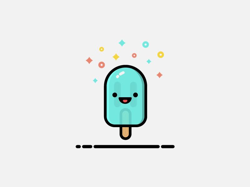 Popsicle fun emblem dessert minimalism design vector flat drawing icon illustration food ice cream