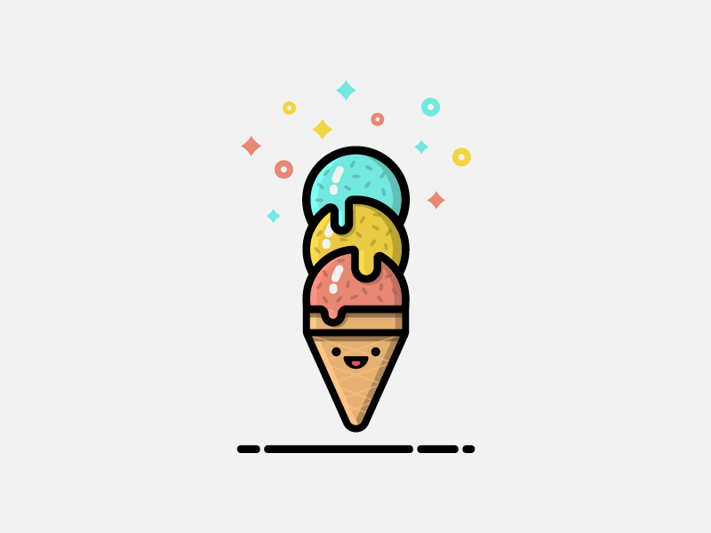 Ice Cream Cone fun emblem dessert minimalism design vector flat drawing icon illustration food ice cream