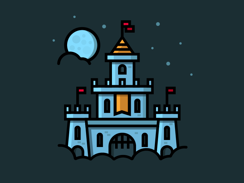 Night Sky Castle building knight medieval cool minimalism flat icon illustration drawing night sky castle