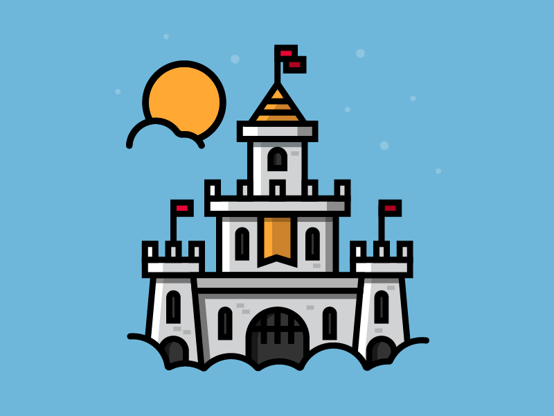 Daytime Sky Castle building knight medieval cool minimalism flat icon illustration drawing night sky castle