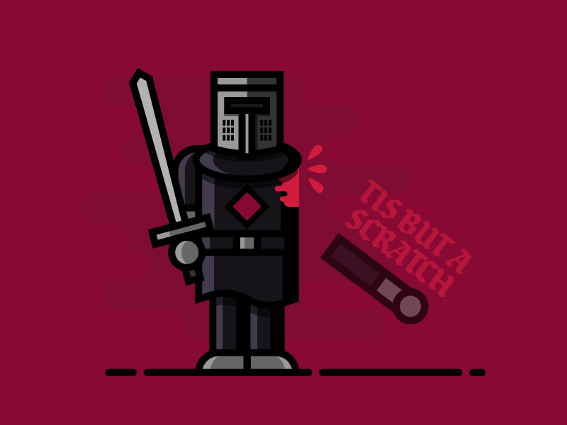 TIS BUT A SCRATCH (Monty Python) minimal flat vector humor sword drawing icon illustration movie medieval knight monty python