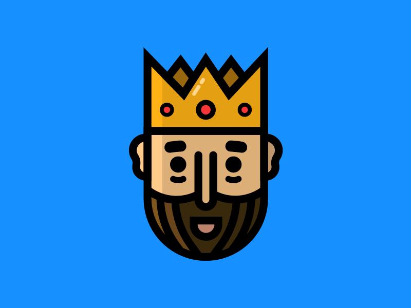King crown medieval fun flat simple illustration drawing design icon face kingdom king