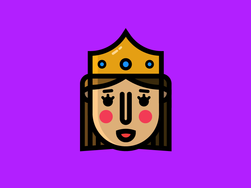 Queen crown medieval fun flat simple illustration drawing design icon face kingdom queen