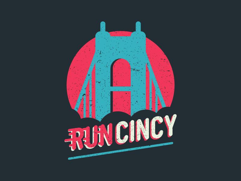 RUN CINCY type design vibrant minimal flat design bridge logo shirt city athlete run cincinnati running