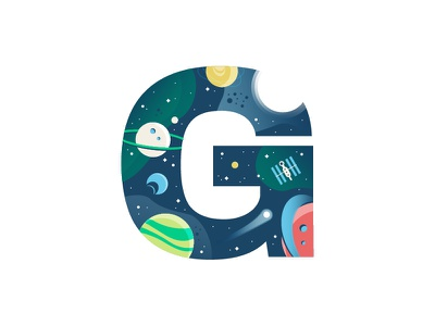 G – Galaxy space exploration series 36 days of type letter lettering g minimal design simple design flat design logo emblem badge icon space age space art spaceship explore planets space galaxy