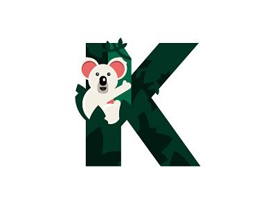 K – Koala fun design k logo graphic design logo design tree simple design flat design badge emblem logo type letter k 36 days of type forest cute animal jungle zoo koala koala bear
