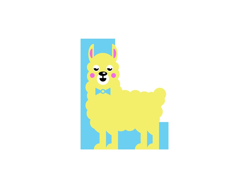 L – Llama | 36 Days of Type type lettering typography animal and pet animal alphabet graphic design minimal design simple design flat design animal art badge icon emblem logo 36 days of type l llamas zoo animal llama