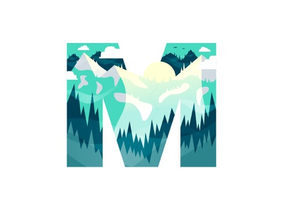 M – Mountains sunny wilderness typography type logo flat design 36 days of type m lettering nature logo emblem badge icon winter snow ski skiing forest nature mountains