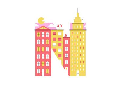 N – New York City skyscraper sunny clean clean design flat design emblem badge logo line illustration 36 days of type letter n n building buildings city skyline skyline city new york ny new york city