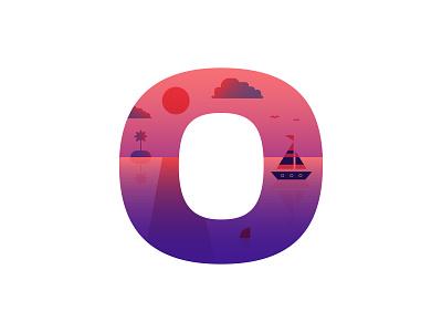 O – Ocean type flat design icon sea creature gradient badge emblem logo letter o 36 days of type o swimming shark sailor sailboat boat sunset water sea ocean