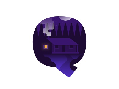 Q – Quiet Place alphabet typography type lettering midnight night time emblem q logo icon badge woods cabin fire stars moon fairytale forest solitude quiet