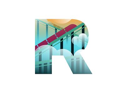 R – Roller Coaster flat illustration flat design alphabet logo type drawing branding letter r r lettering minimalism emblem graphic design logo typography badge icon amusement park alphabet roller coaster