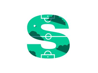S – Soccer Field typography logo design minimal flat design soccer badge soccer logo soccer ball alphabet emblem badge icon logo lettering s soccer field field sports futbol football soccer