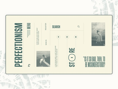 Perfectionism #3 ux ui typography old retro grid layout design daily experiment web layout