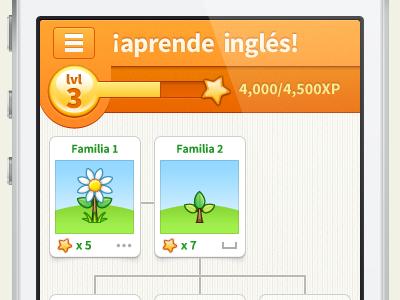 ¡Aprende Inglés! Language Learning App javin ladish iphone app ui orange flowers game hud ios education learning