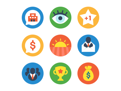 Investment Badges javin ladish icons badges flat colorful playful fun cute circle investing money company