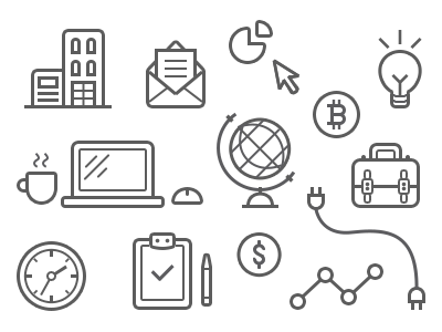 Business-y Line Illustrations javin ladish icons line illustration tech business work desktop tools