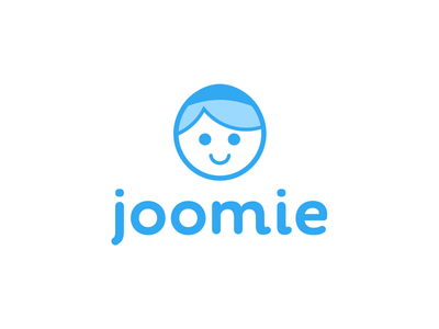 Joomie Branding javin ladish branding font rounded logo blue happy face avatar cute