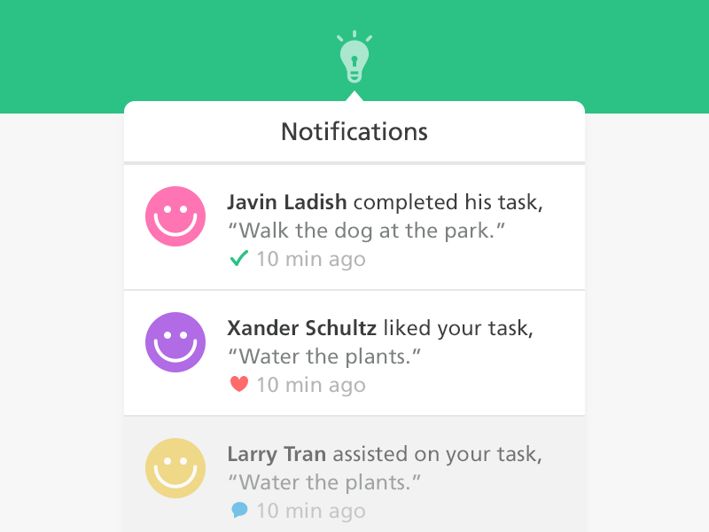 Happy Notifications javin ladish ui web notifications dropdown happy tasks green