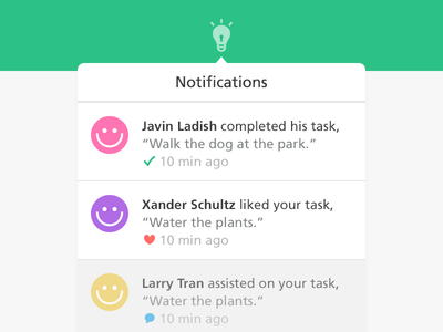 Happy Notifications javin ladish ui web notifications dropdown happy tasks green