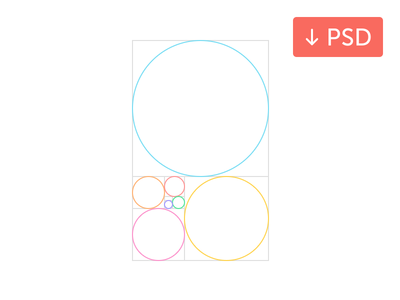 Golden Ratio: Free PSD psddd vector javin ladish free psd golden ratio fibonacci spiral proportion pixel circles