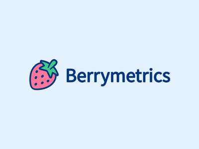 Berrymetrics Logo analytics blue pink fruit berry strawberry cute branding logo javin ladish