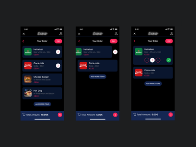 Festival app > basket order orders beer dark theme music items basket ios mobiel app app festival