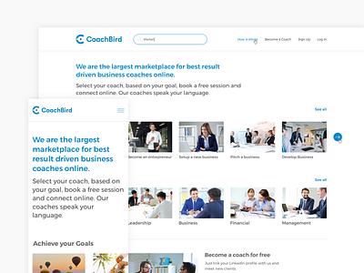 Coachbird website coach coaching design web mobile website ui design coachbird userinterface ui platform