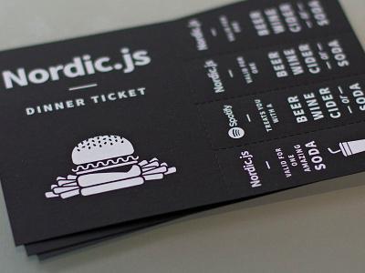 Dinner ticket - Nordic.js print ticket illustration typography branding event perforation