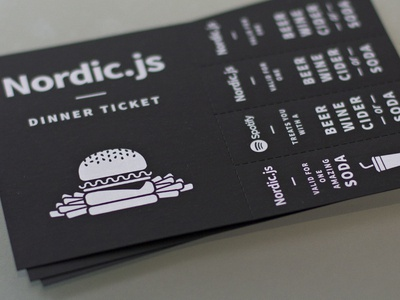 Dinner ticket - Nordic.js print ticket illustration typography branding event perforation
