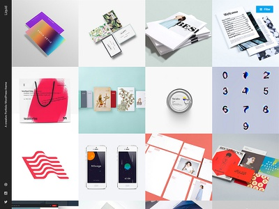 Liquid Theme portfolio masonry slide-out sidebar sidebar minimalistic clean modern responsive grid themes wordpress themes wordpress