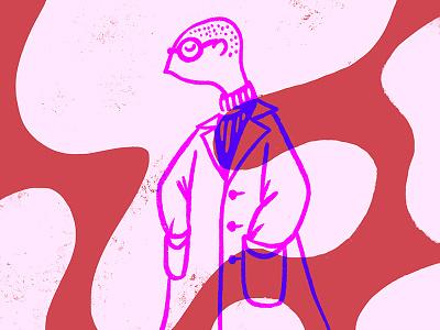 rough + refined bald refined rough glasses shapes turtleneck coat fashion pink character portrait illustration