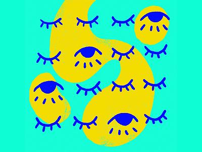 open/close eyelid close open shapes eyes yellow blue illustration