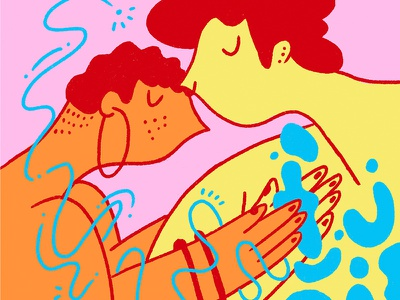 hold tight couple hold shapes embrace love pink character portrait yellow blue illustration