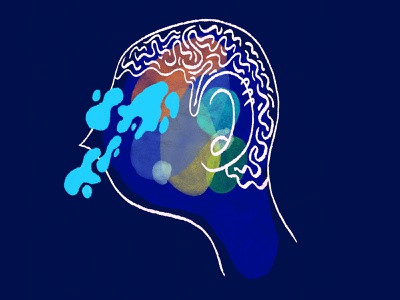 Mixed Feelings orange yellow feelings crying tears head portrait character blue illustration