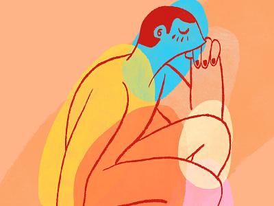 Seeking inward thoughts inside seeking thinking figure orange character yellow blue illustration