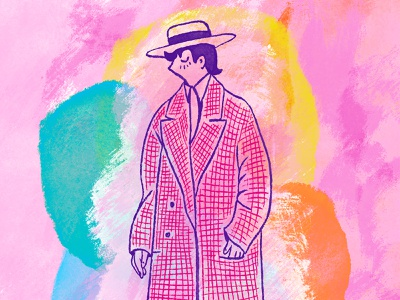 Out on the town 🎩 shapes sketch pattern fancy hat coat vintage orange character yellow blue illustration