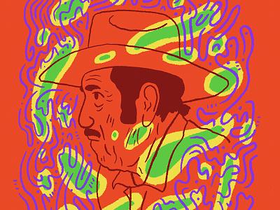 Ranchero green yellow blue red abstract portrait hat rancher ranchero man illustration