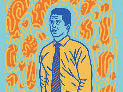 Bizness Attire blue orange yellow work tie business portrait man illustration