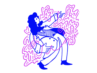 Lean with it character blue pink jacket lean fashion woman illustration