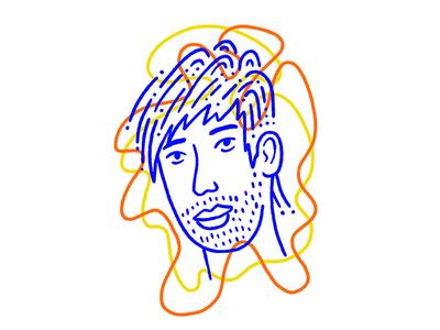Stubbly yellow orange blue stubble face portrait man illustration character