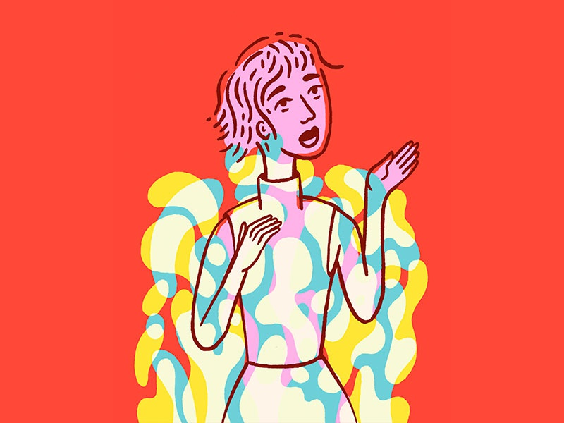 Finding Time fashion woman pink character portrait yellow blue illustration