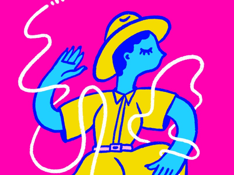 wiggle feels shapes fashion woman pink character portrait yellow blue illustration