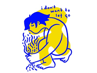 i don't want to let go shapes character portrait yellow blue illustration