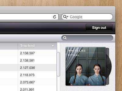 Disc sleeve header cd music scrollbar table search